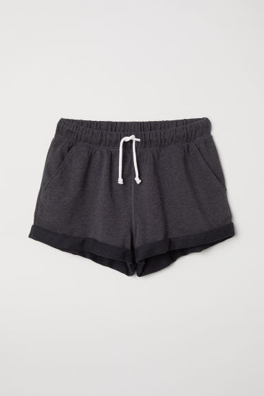 Sweatshirt shorts - Black marl - Ladies | H&M