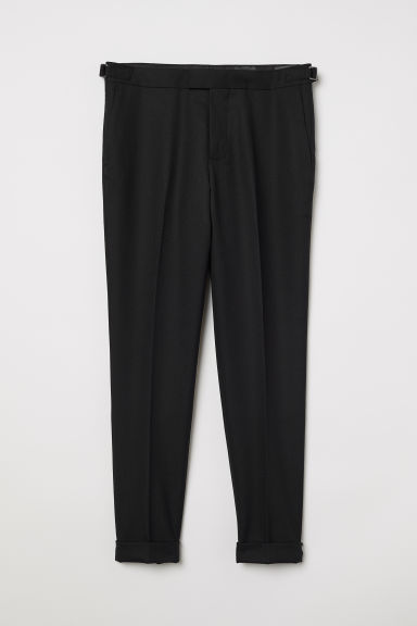 Pantaloni misto lana Slim fit - Nero - UOMO | H&M IT
