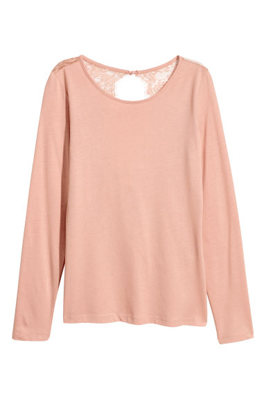 Jersey top with lace - Peach - Ladies | H&M CN