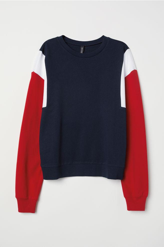 Sweatshirt With Printed Design Dark Bluered Ladies Hm Us