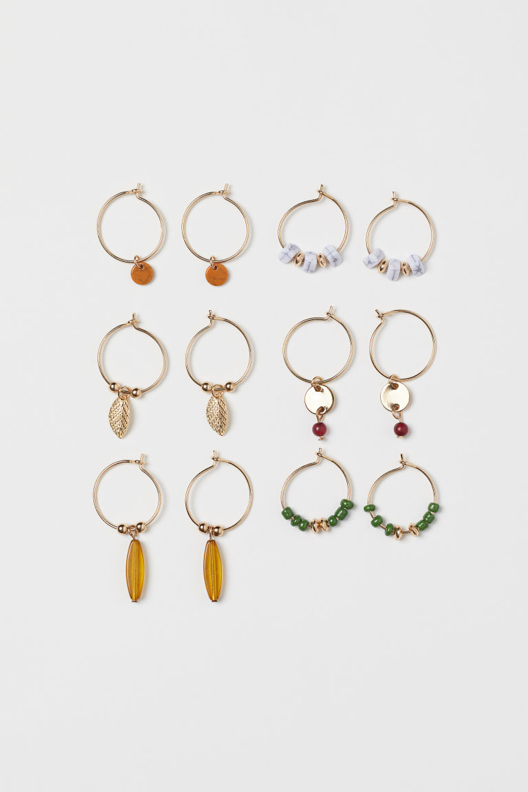 6 Pairs Hoop Earrings - Gold-colored/dark green - Ladies | H&M CA