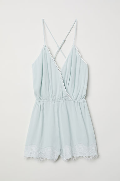 Sleeveless playsuit - Mint green - Ladies | H&M CN