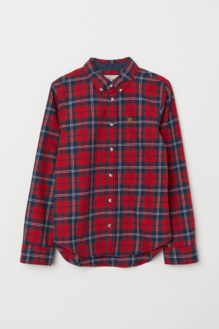 Cotton shirt - Red/Checked - Kids | H&M