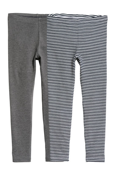 2-pack leggings - White/Blue striped - Kids | H&M