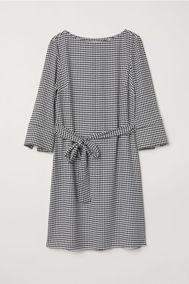 849d3678eff Dress with Tie Belt - Black houndstooth - Ladies