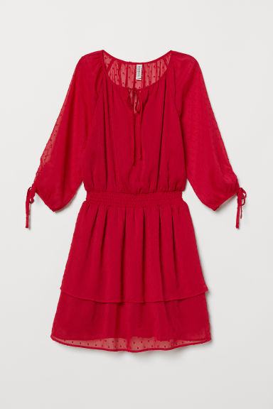 Plumeti chiffon dress - Red -  | H&M