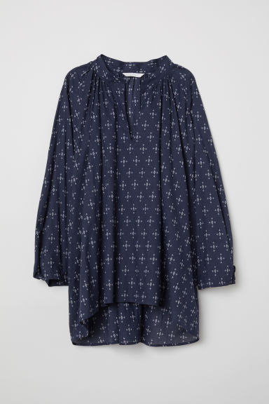 Oversized bloes - Donkerblauw/dessin - DAMES | H&M BE