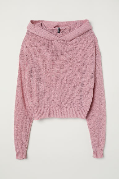 Knitted hooded jumper - Old rose - Ladies | H&M CN