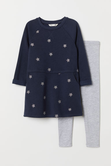 Dress and leggings set - Dark blue/Stars - Kids | H&M