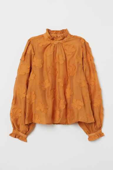 Jacquard-weave Blouse - Dark yellow - Ladies | H&M US