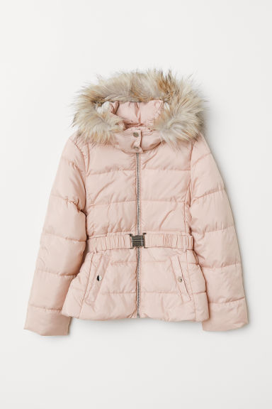 Padded jacket with a belt - Powder pink - Kids | H&M
