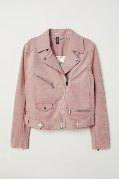 Imitation suede biker jacket - Powder pink - Ladies | H&M CN