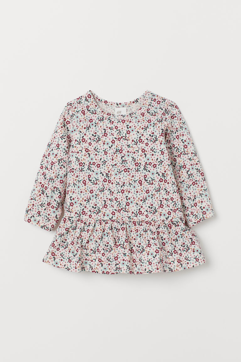 Patterned flounced dress - Dark pink/Floral - Kids | H&M IN