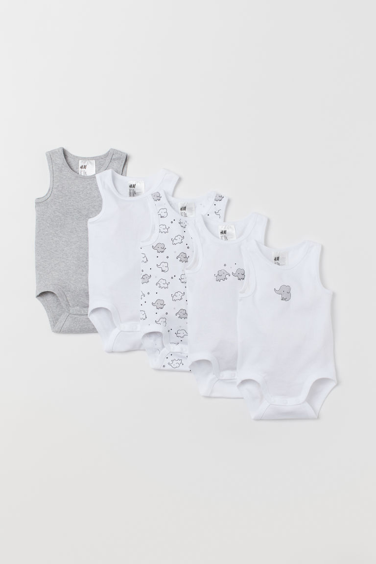 5-pack sleeveless bodysuits - White/Elephants - Kids | H&M CN