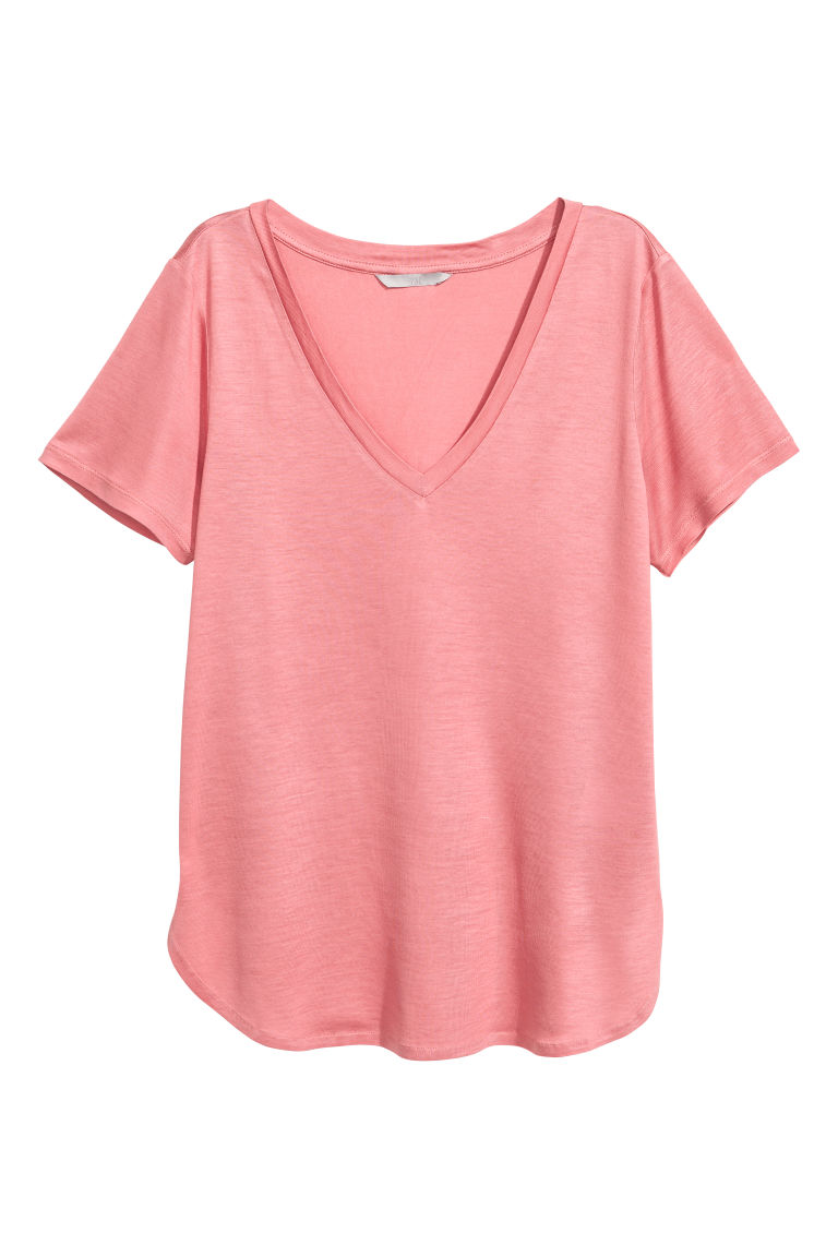 V-neck jersey top - Pink - Ladies | H&M