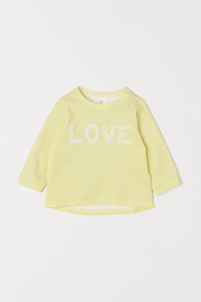 Printed top - Yellow/Love - Kids | H&M CN
