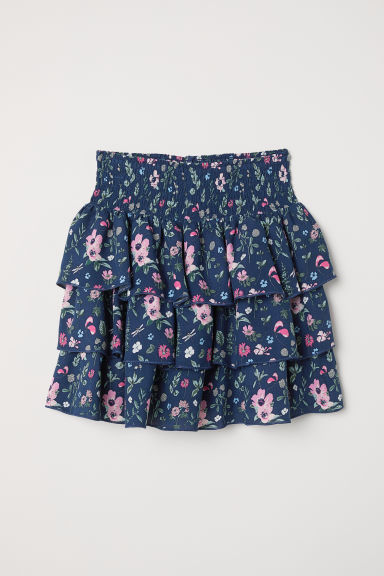 Tiered skirt with smocking - Dark blue/Floral - Kids | H&M