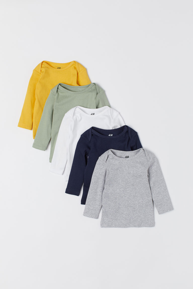 5-pack jersey tops - Dusky green/Multicoloured - Kids | H&M