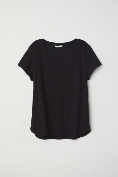 Cotton T-shirt - Black - Ladies | H&M CN