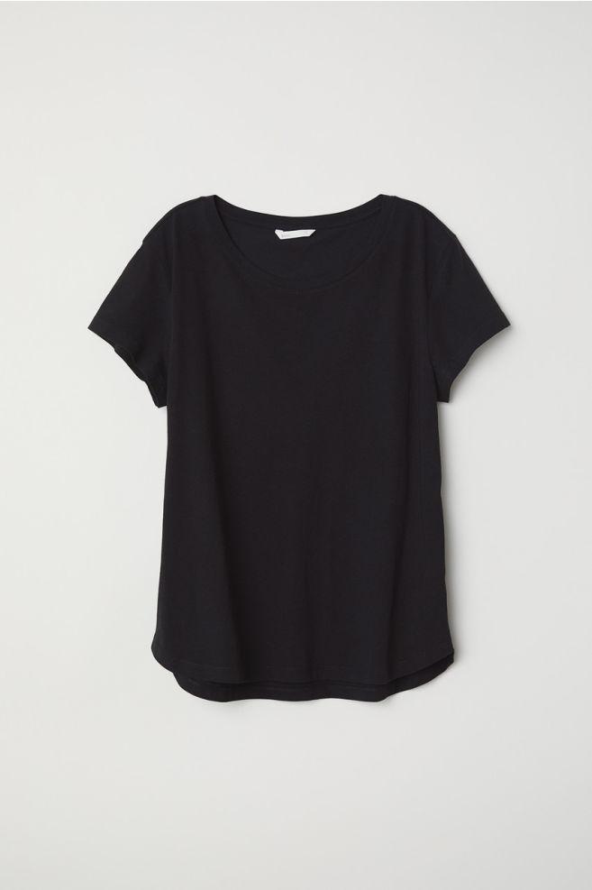 f81d7adb3a2f37 Bawełniany T-shirt - Czarny - ONA | H&M ...
