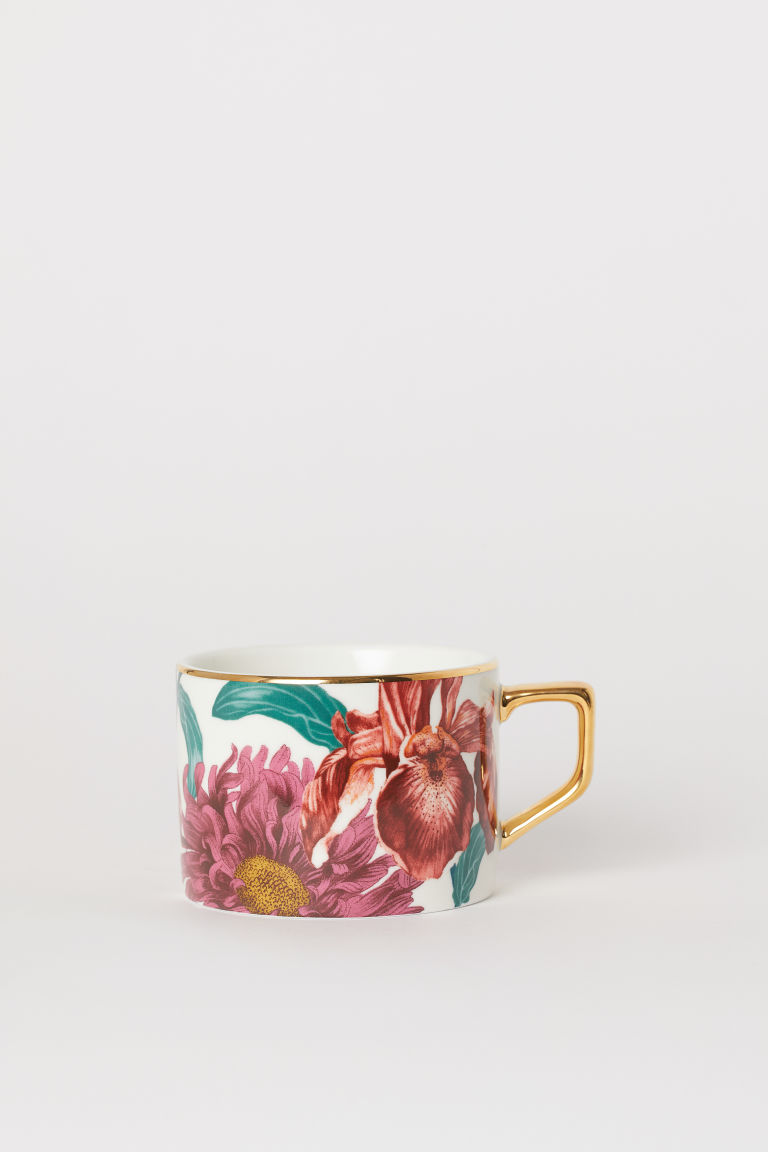 Porcelain Cup - White/floral - Home All | H&M US