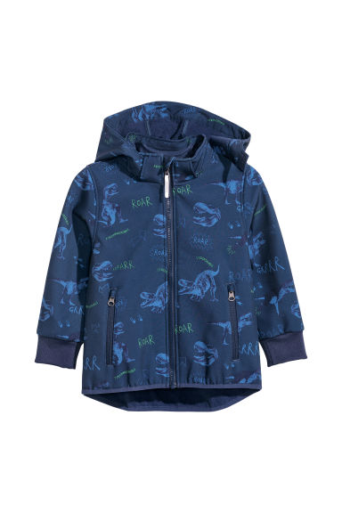 Softshell jacket - Dark blue/Patterned - Kids | H&M