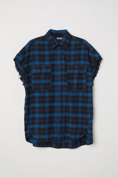 Short-sleeved flannel shirt - Blue - Men | H&M