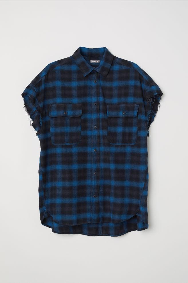 Short Sleeved Flannel Shirt Blue Men H M