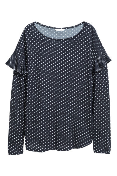Top maniche lunghe con volant - Blu scuro/pois - DONNA | H&M IT