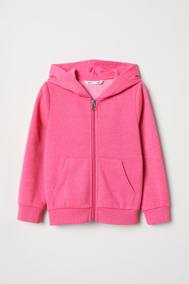 Hooded jacket - Pink/Glittery - Kids | H&M