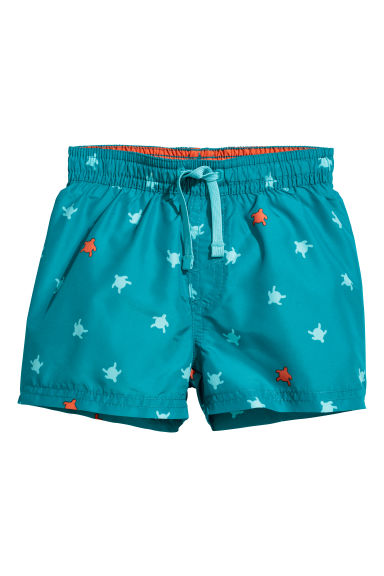Patterned swim shorts - Turquoise/Turtles - Kids | H&M