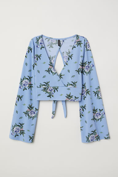 Trumpet-sleeved top - Blue/Floral -  | H&M CN
