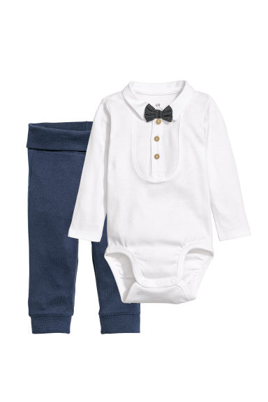 Cotton bodysuit and trousers - Dark blue - Kids | H&M