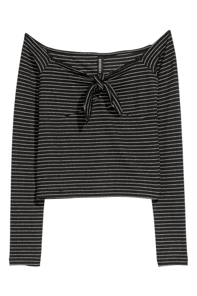 Off-the-shoulder top - Black/Silver-coloured - Ladies | H&M