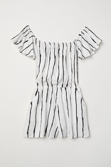 Off-the-shoulder playsuit - White/Black striped - Ladies | H&M