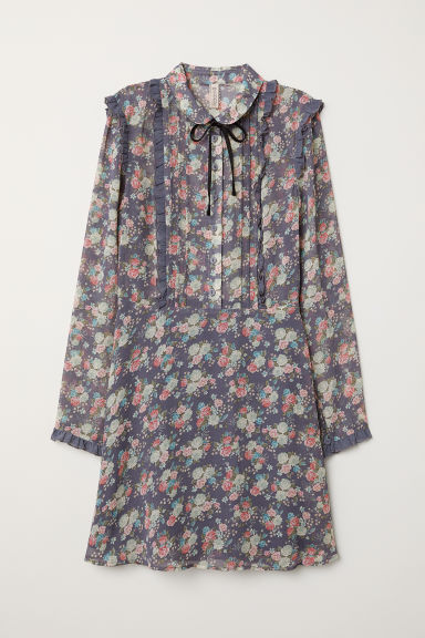 Ruffled Chiffon Dress - Pigeon blue/floral -  | H&M CA