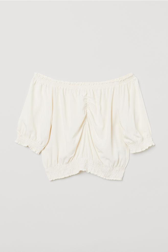 67c26aa3c51 Short off-the-shoulder blouse - Natural white - Ladies | H&M ...