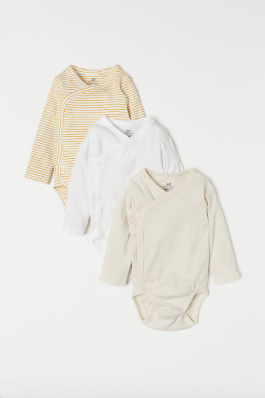 3-pack long-sleeved bodysuits - Mustard yellow/Striped - Kids | H&M IN