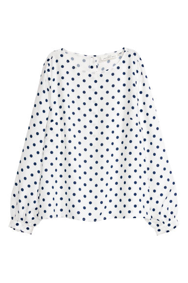 Patterned blouse - White/Dark blue spotted - Ladies | H&M