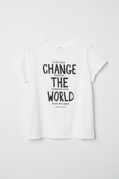 T-shirt in jersey flammé - Bianco/Change - BAMBINO | H&M IT
