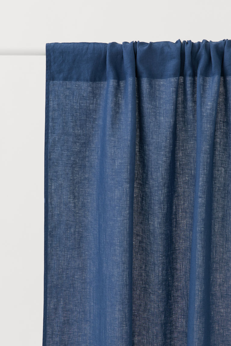 2-pack Linen Curtain Panels - Dark blue - Home All | H&M CA