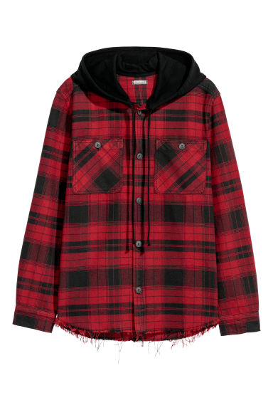 Hooded shirt - Dark red/Black checked -  | H&M