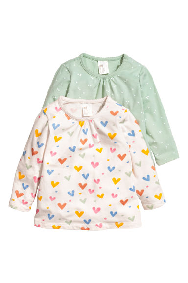 2-pack long-sleeved tops - White/Hearts - Kids | H&M CN