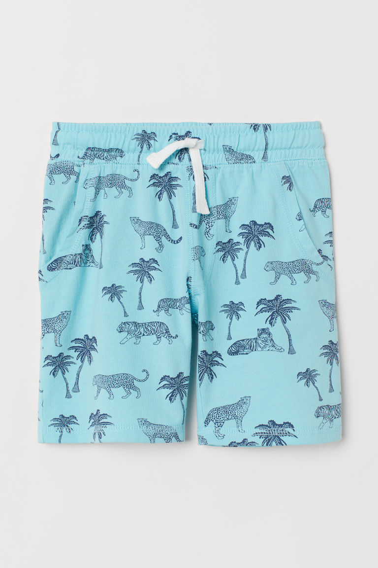 Jersey shorts - Turquoise/Palm trees - Kids | H&M CN