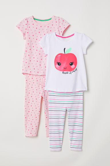 2-pack pyjamas - Pink/Patterned - Kids | H&M