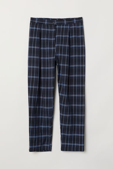 Wide trousers - Dark blue/Checked - Ladies | H&M