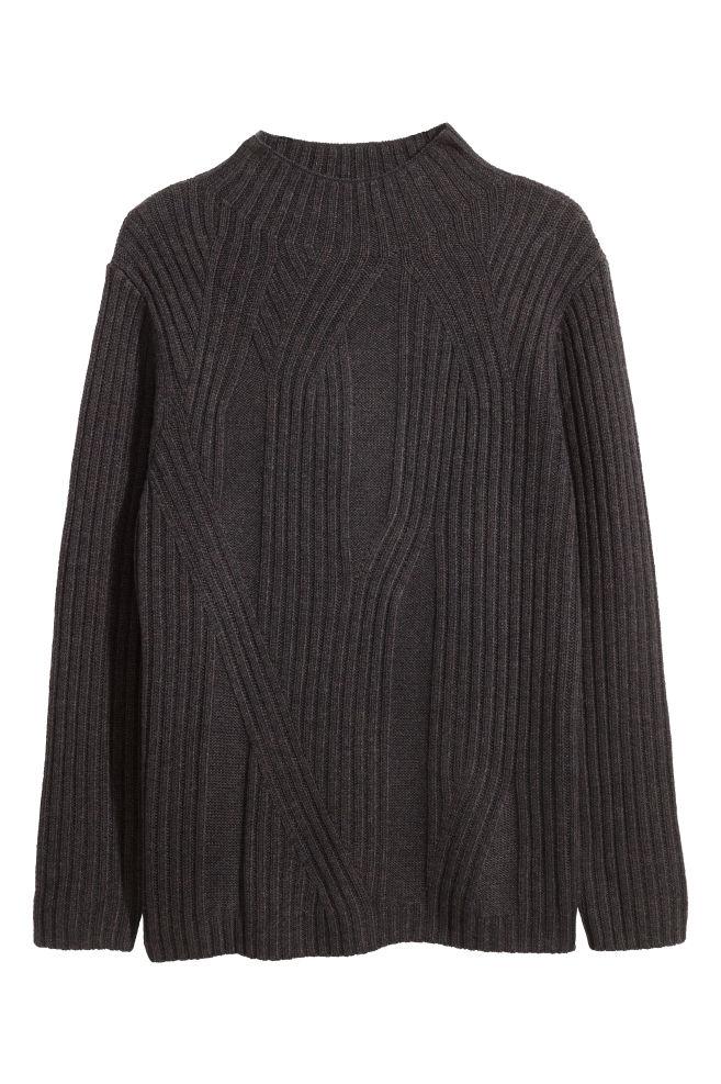 3e03854b9 Camisola malha fantasia com lã - Castanho escuro mesclado - HOMEM ...