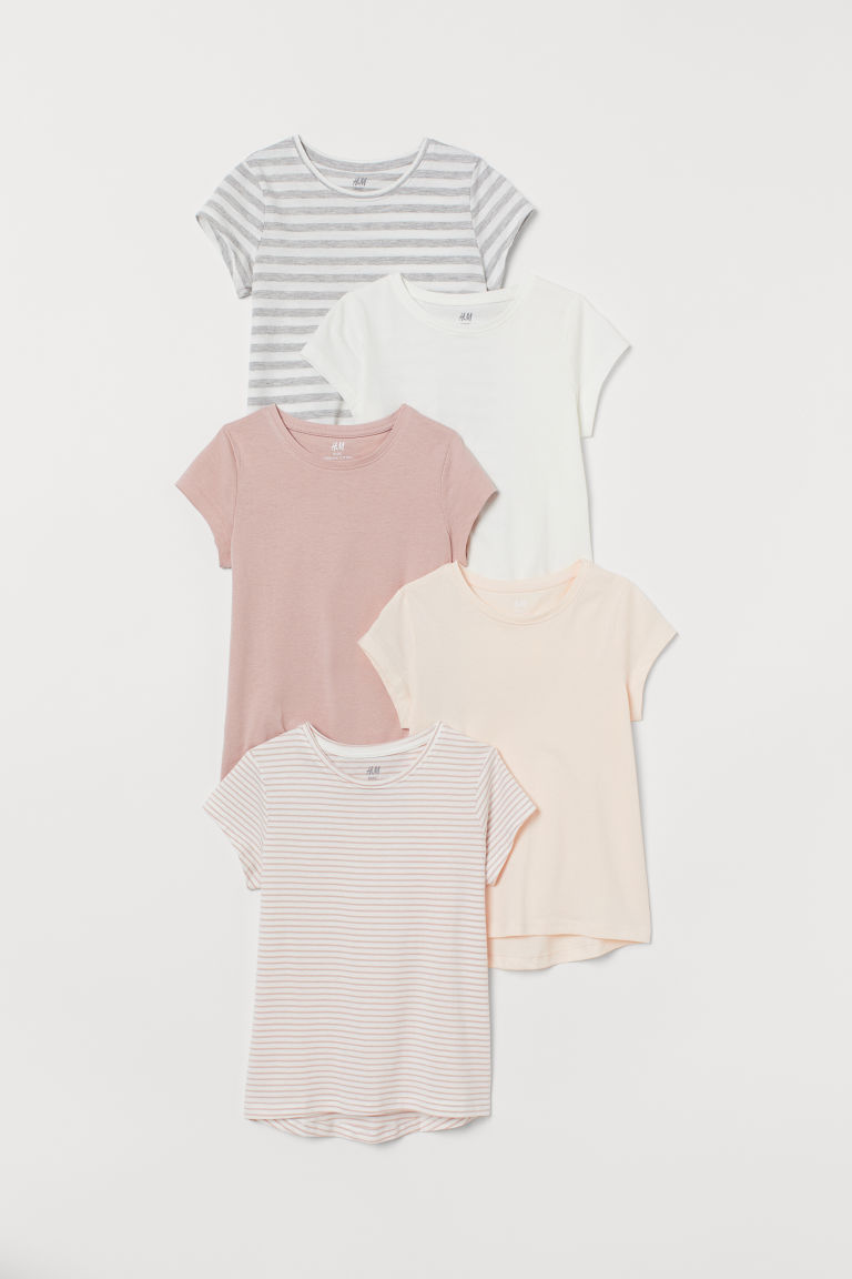 5-pack jersey tops - White/Pink striped - Kids | H&M CN