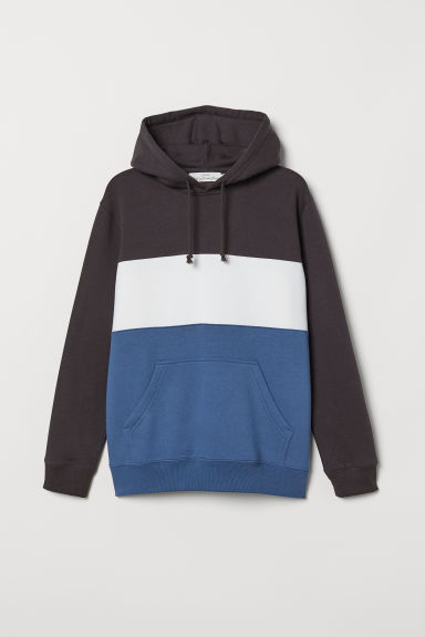 Block-coloured hooded top - Blue/White - Men | H&M