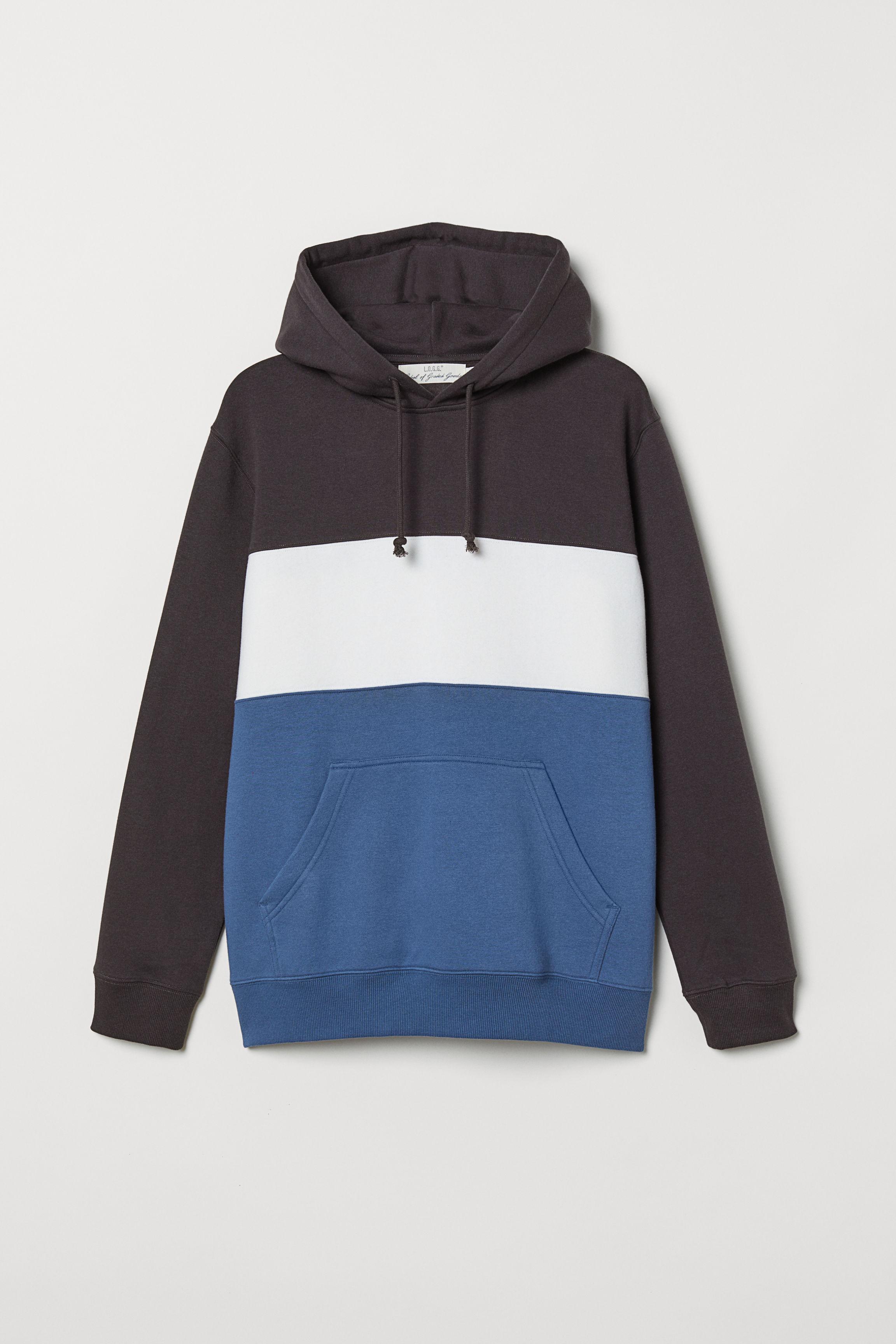21d586e573 Color-block Hooded Sweatshirt - Dark blue/mustard yellow - Men   H&M US